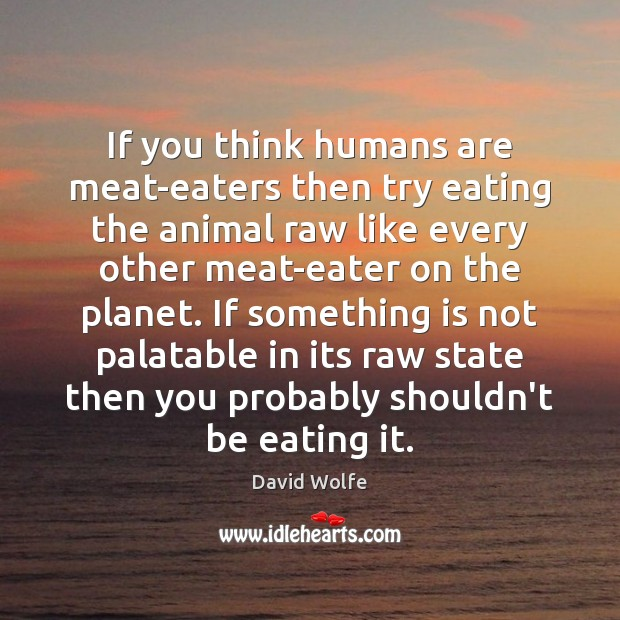 If you think humans are meat-eaters then try eating the animal raw David Wolfe Picture Quote