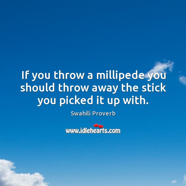 Image, If you throw a millipede you should throw away the stick you picked it up with.