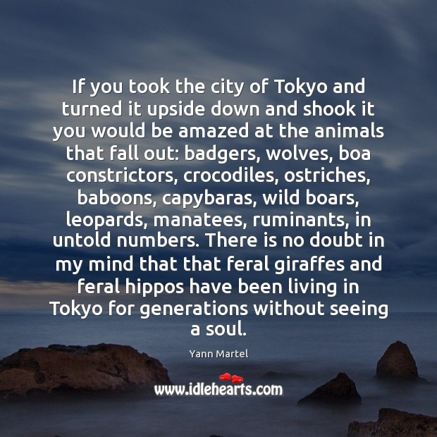 If you took the city of Tokyo and turned it upside down Yann Martel Picture Quote