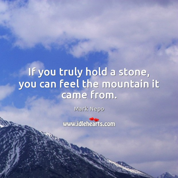 If you truly hold a stone, you can feel the mountain it came from. Mark Nepo Picture Quote