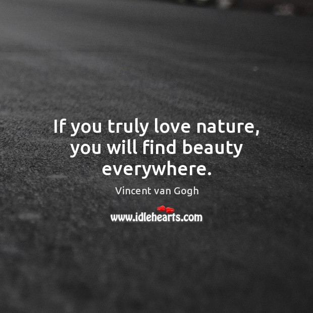 If you truly love nature, you will find beauty everywhere. Vincent van Gogh Picture Quote