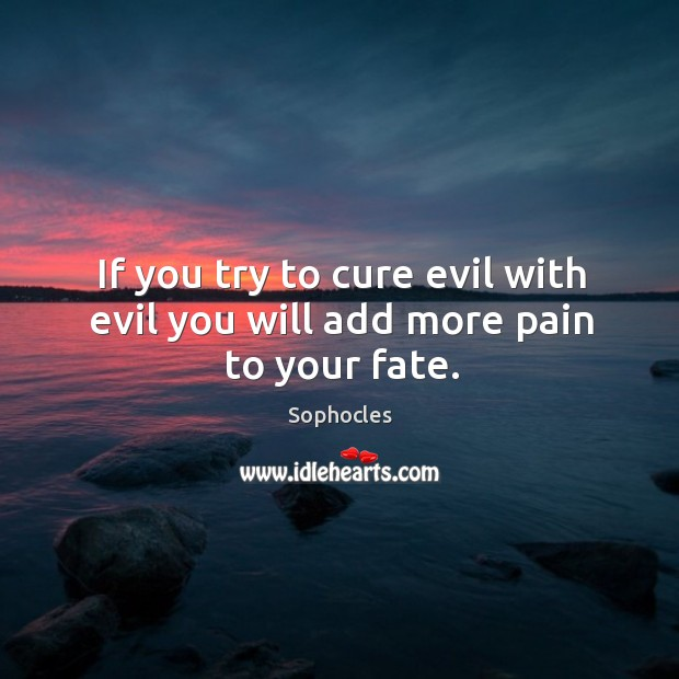 Image, If you try to cure evil with evil you will add more pain to your fate.