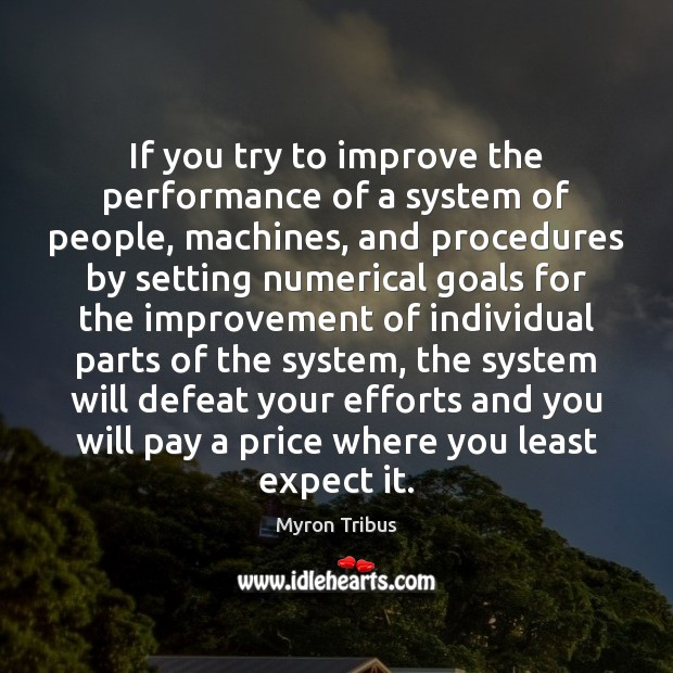 If you try to improve the performance of a system of people, Image