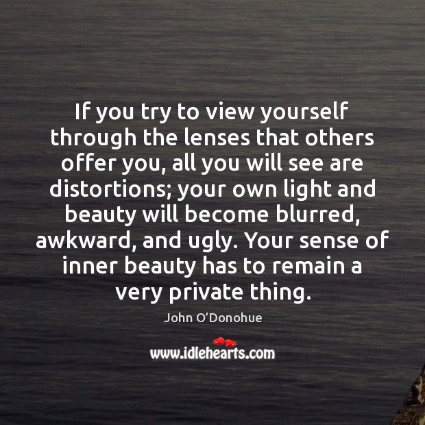 If you try to view yourself through the lenses that others offer John O'Donohue Picture Quote