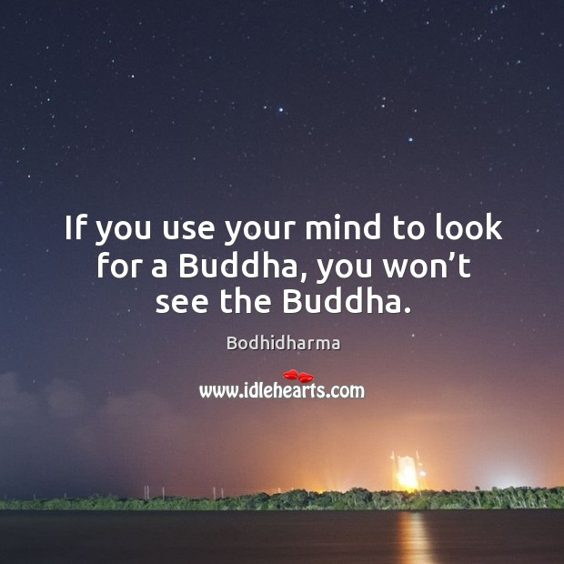 If you use your mind to look for a buddha, you won't see the buddha. Image