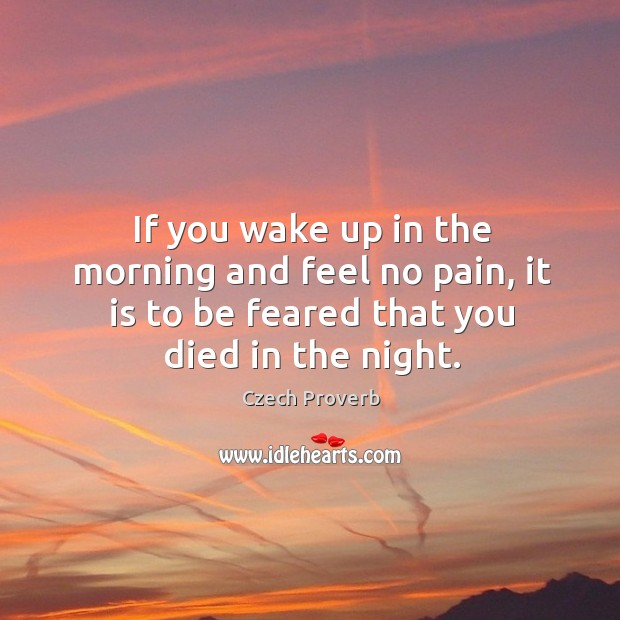 If you wake up in the morning and feel no pain, it is to be feared that you died in the night. Czech Proverbs Image
