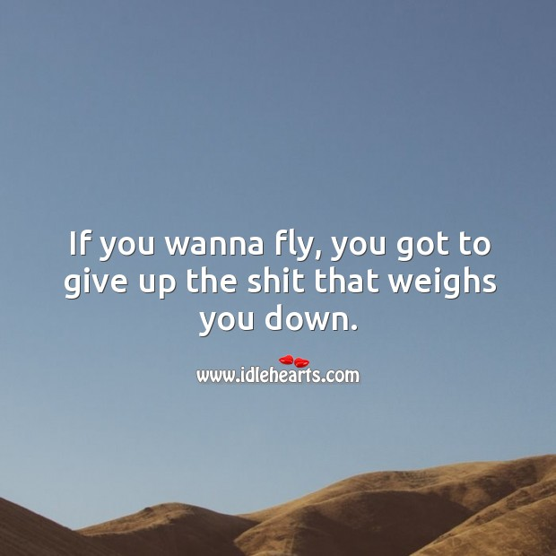 If you wanna fly, you got to give up the shit that weighs you down. Image
