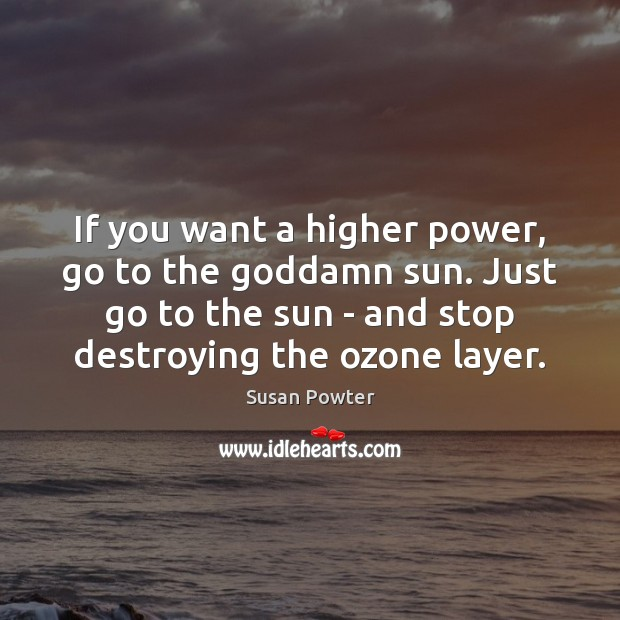 If you want a higher power, go to the Goddamn sun. Just Susan Powter Picture Quote