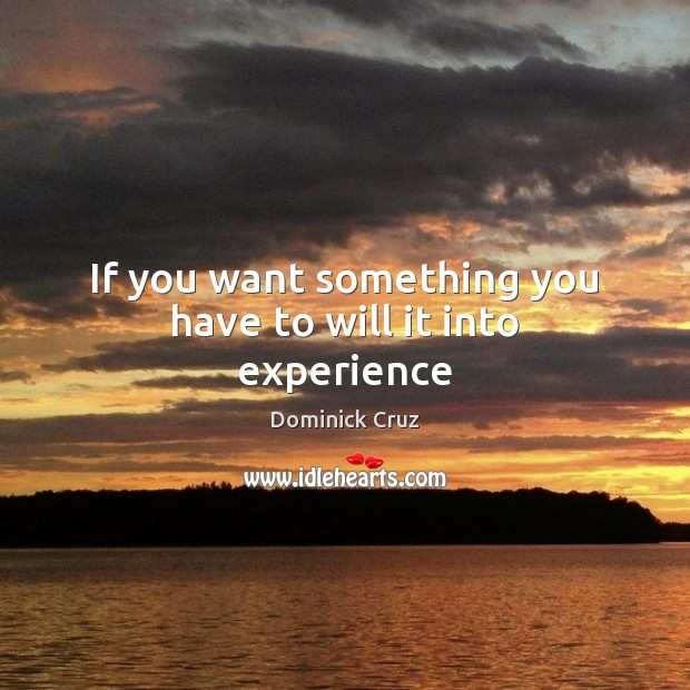 If you want something you have to will it into experience Image