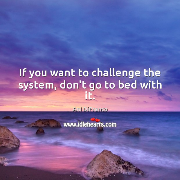 If you want to challenge the system, don't go to bed with it. Ani DiFranco Picture Quote