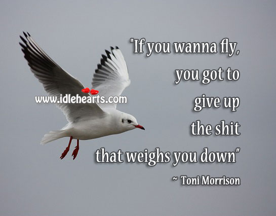 """If You Wanna Fly, Give Up The Shit That Weighs You Down, Down, Fly, Give, Give Up"
