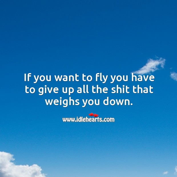 If you want to fly you have to give up all the shit that weighs you down. Image