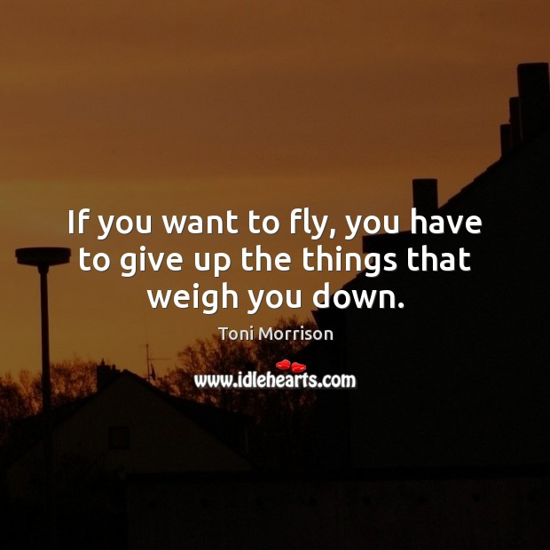 If you want to fly, you have to give up the things that weigh you down. Image