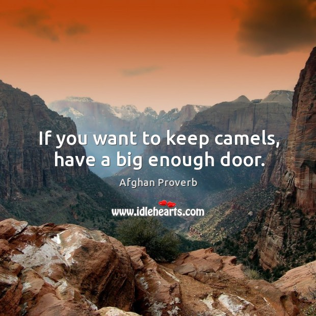 If you want to keep camels, have a big enough door. Afghan Proverbs Image