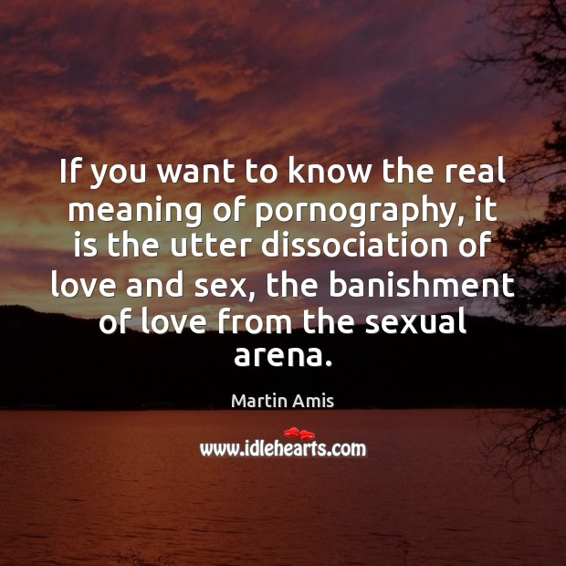 If you want to know the real meaning of pornography, it is Image