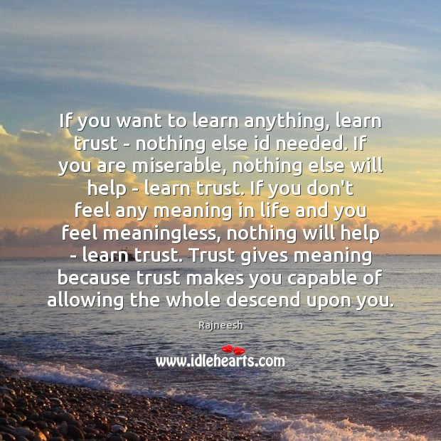 Image, If you want to learn anything, learn trust – nothing else id