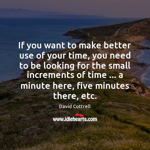 If you want to make better use of your time, you need David Cottrell Picture Quote