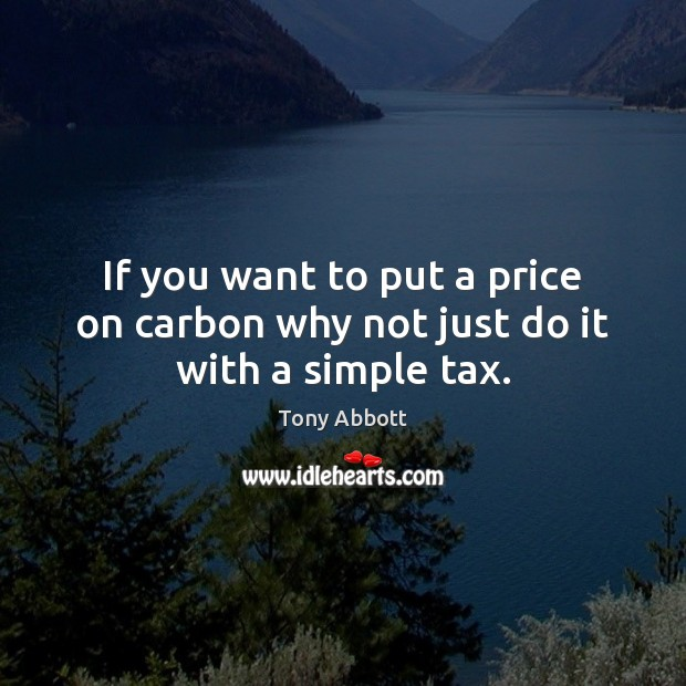 If you want to put a price on carbon why not just do it with a simple tax. Tony Abbott Picture Quote