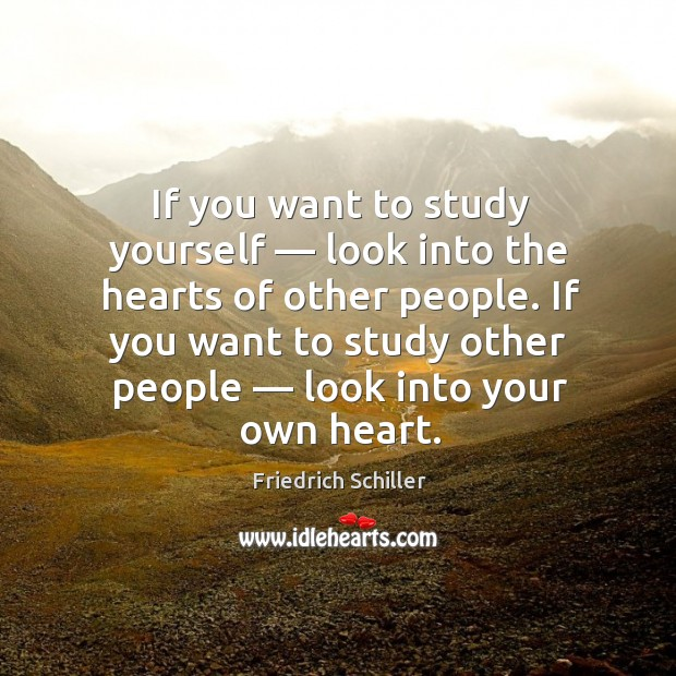 Image, If you want to study yourself — look into the hearts of other people. If you want to study other people.