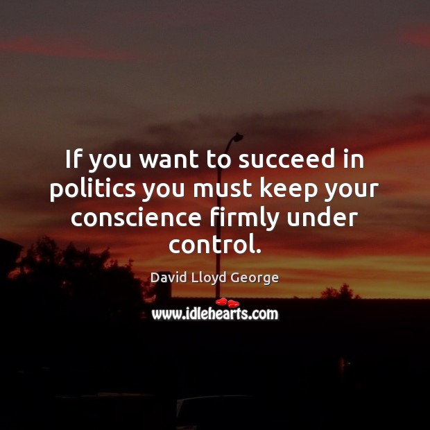 Image, If you want to succeed in politics you must keep your conscience firmly under control.