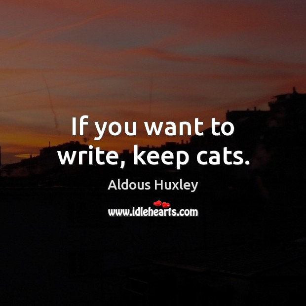 If you want to write, keep cats. Image