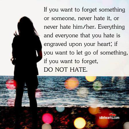 If You Want To Forget Something Or Someone, Never Hate It…