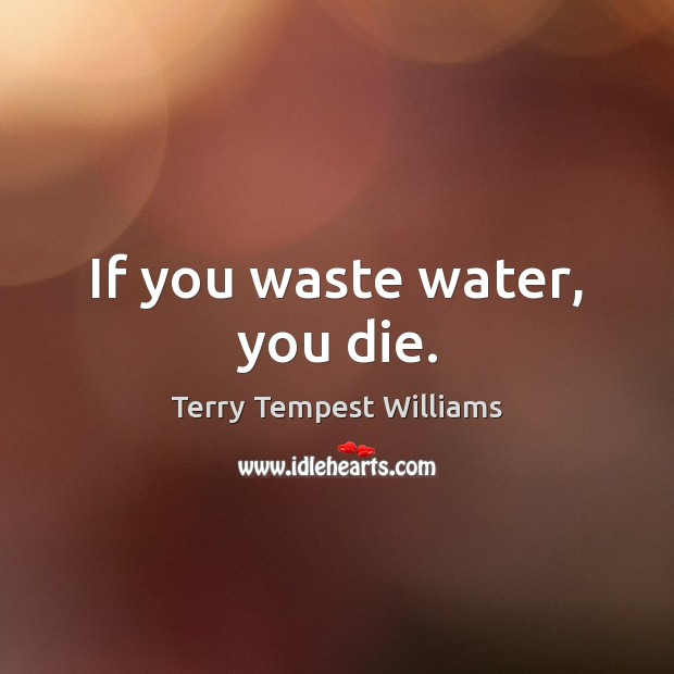 If you waste water, you die. Image