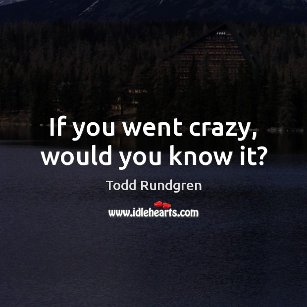 If you went crazy, would you know it? Todd Rundgren Picture Quote