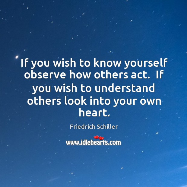 Image, If you wish to know yourself observe how others act.  If you