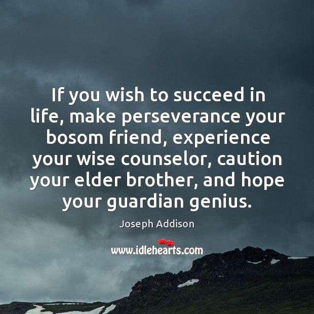 If you wish to succeed in life, make perseverance your bosom friend, experience your Image