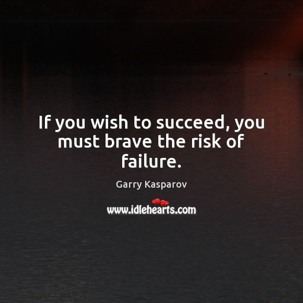 If you wish to succeed, you must brave the risk of failure. Garry Kasparov Picture Quote