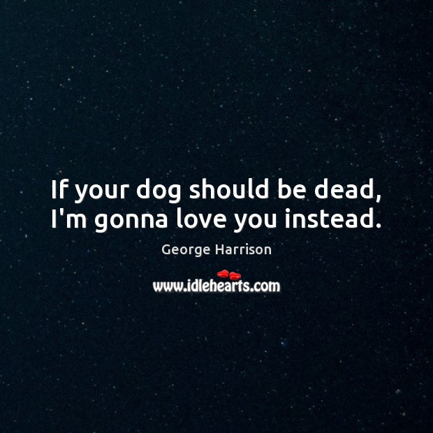 If your dog should be dead, I'm gonna love you instead. George Harrison Picture Quote
