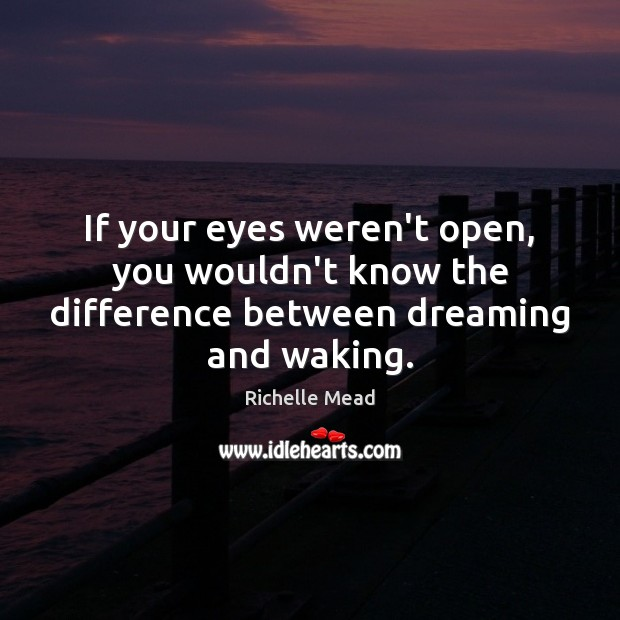 Image, If your eyes weren't open, you wouldn't know the difference between dreaming and waking.