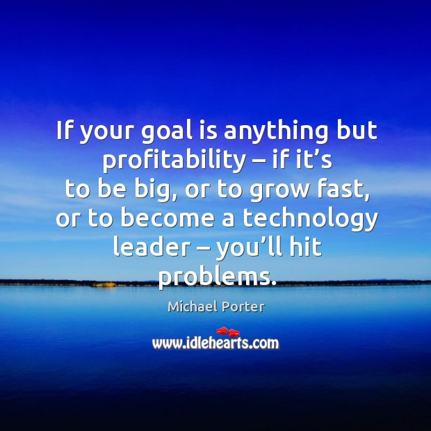 If your goal is anything but profitability – if it's to be big, or to grow fast Michael Porter Picture Quote