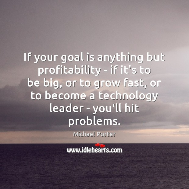 If your goal is anything but profitability – if it's to be Michael Porter Picture Quote