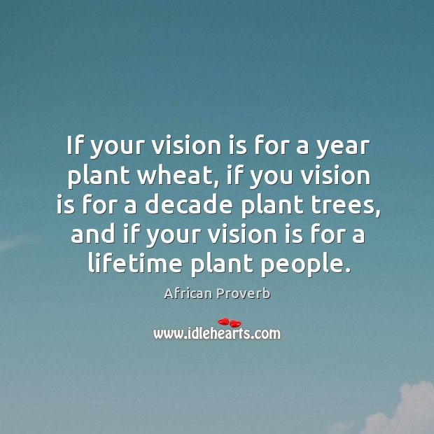 If your vision is for a year plant wheat, if you vision is for a decade Image