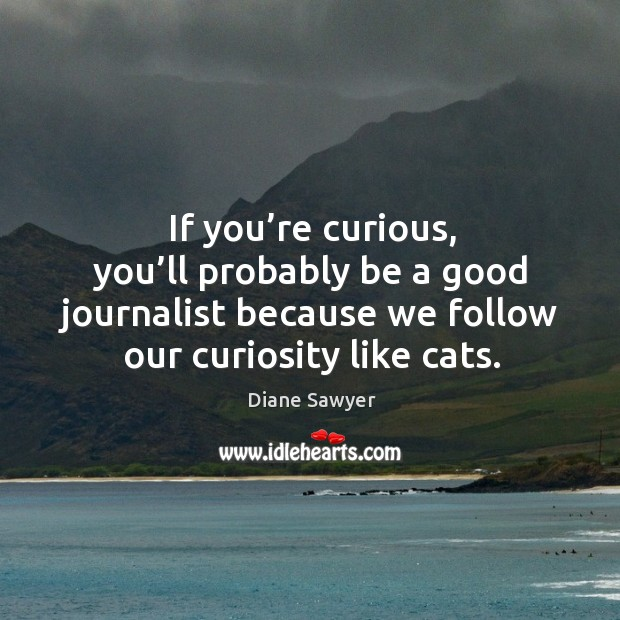 If you're curious, you'll probably be a good journalist because we follow our curiosity like cats. Diane Sawyer Picture Quote