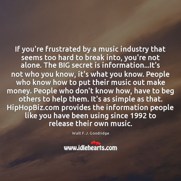 If you're frustrated by a music industry that seems too hard to Image