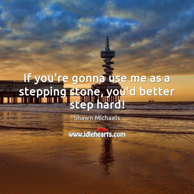 If you're gonna use me as a stepping stone, you'd better step hard! Image