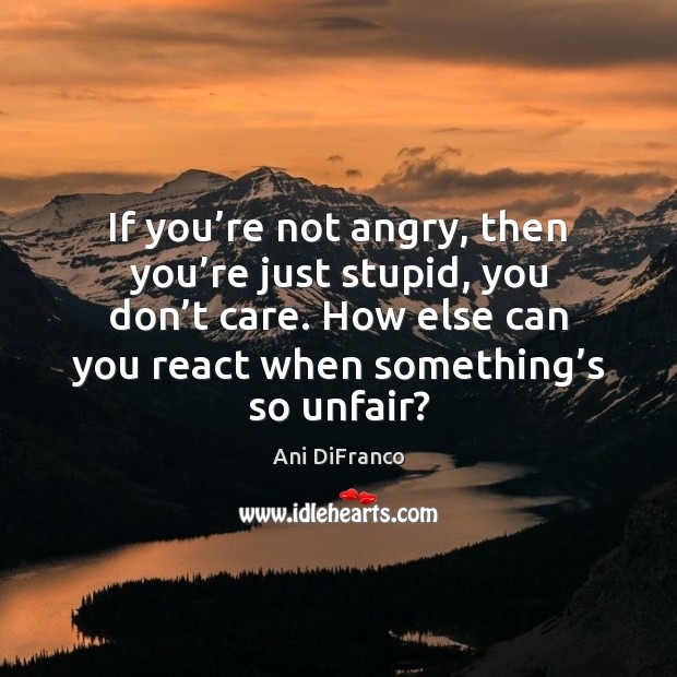 If you're not angry, then you're just stupid, you don' Image