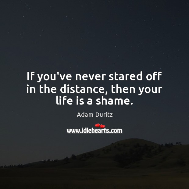 If you've never stared off in the distance, then your life is a shame. Adam Duritz Picture Quote