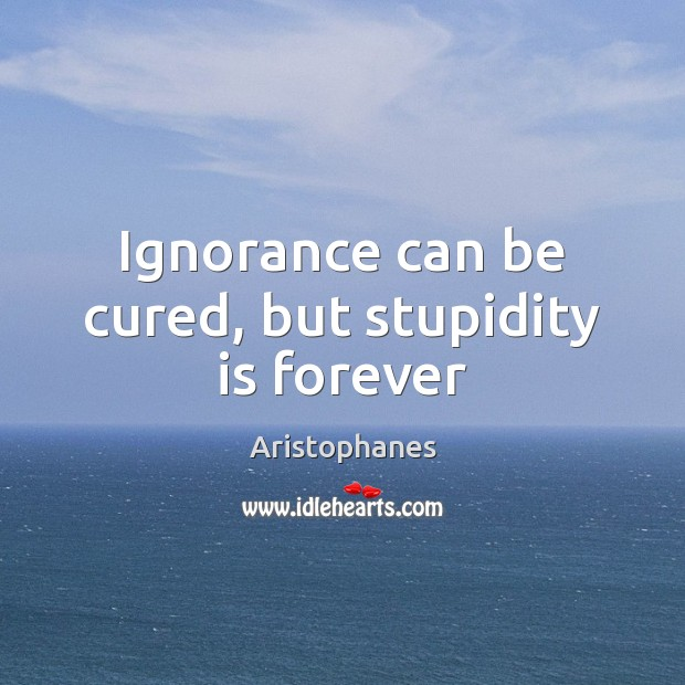 Image, Ignorance can be cured, but stupidity is forever