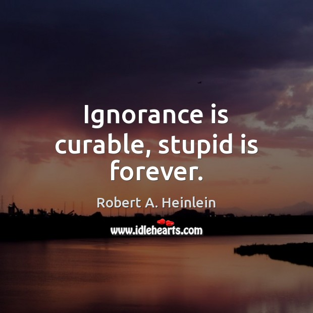 Ignorance is curable, stupid is forever. Ignorance Quotes Image