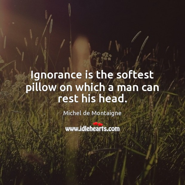 Image, Ignorance is the softest pillow on which a man can rest his head.