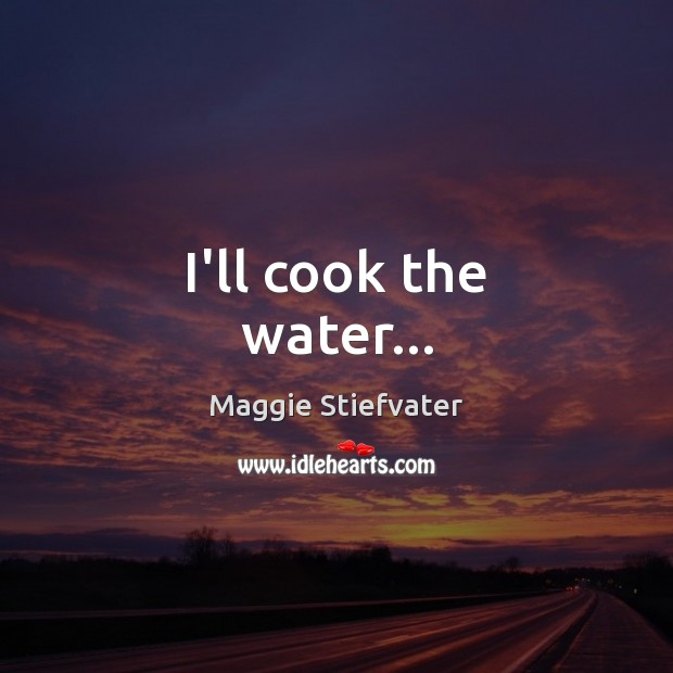 I'll cook the water… Maggie Stiefvater Picture Quote