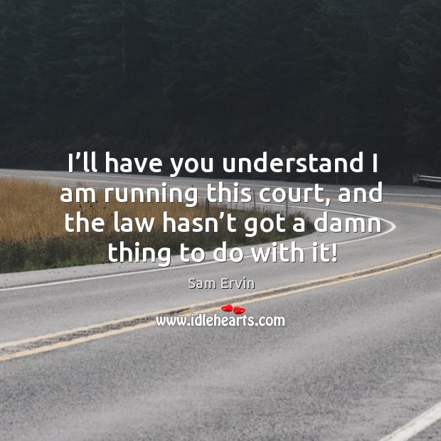 I'll have you understand I am running this court, and the law hasn't got a damn thing to do with it! Image