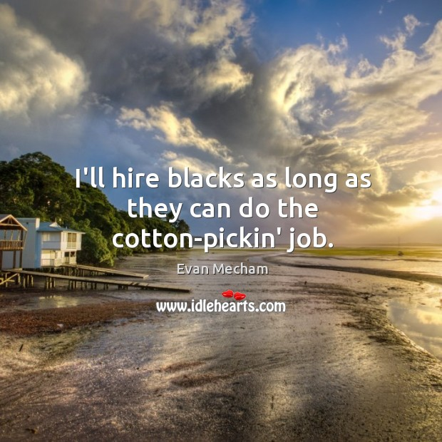 I'll hire blacks as long as they can do the cotton-pickin' job. Image