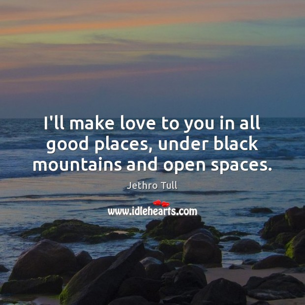I'll make love to you in all good places, under black mountains and open spaces. Image