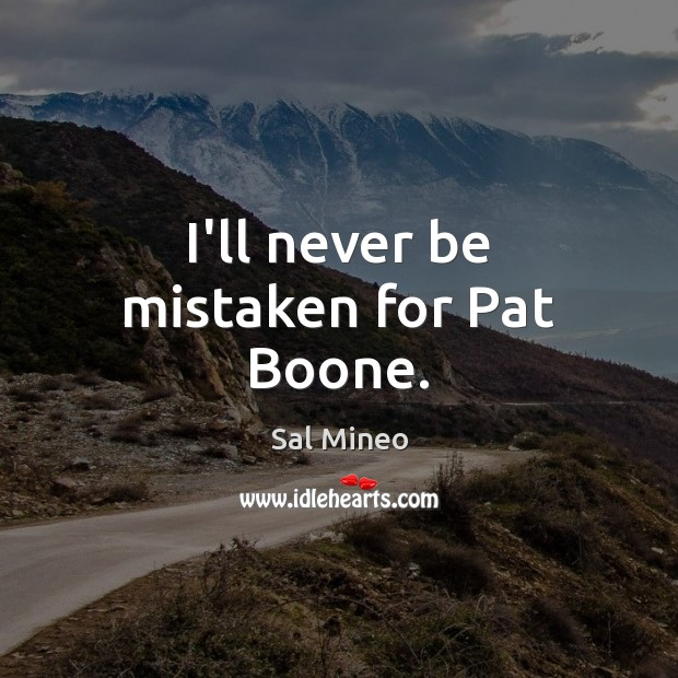 I'll never be mistaken for Pat Boone. Image
