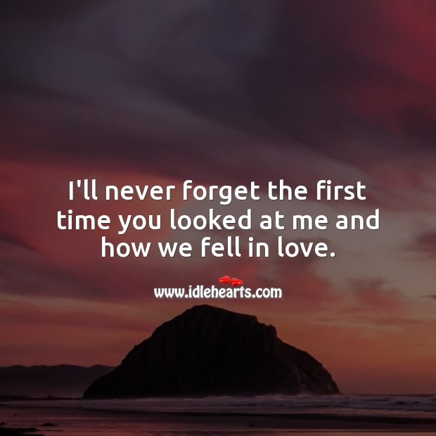 I'll never forget the first time you looked at me and how we fell in love. Falling in Love Quotes Image
